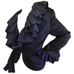 Christian Dior Numbered Demi Couture Ruffled Silk Jacket by Gianfranco Ferre XL