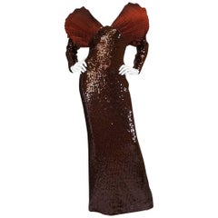 Late 1980s Loris Azzaro Couture Dramatic Copper Sequin Dress