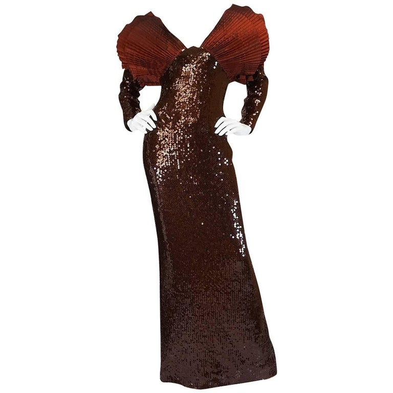 b9f31c5dd841 Loris Azzaro Couture Dramatic Copper Sequin Dress, Late 1980s For Sale