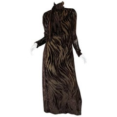 1970s Pauline Trigere Fused Velvet & Chocolate Silk Chiffon Dress