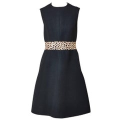 Givenchy Sleeveless Day Dress with Cheetah Pattern Detail