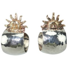 Vintage Sterling Silver Hoop Artisan Earrings With 14K Gold Suns