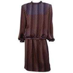 1980's Nina Ricci Black & Brown Checked Silk Charmeuse Dress Ensemble