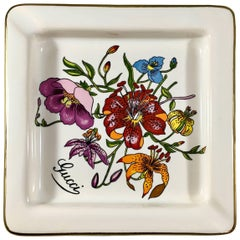 Gucci Vintage Ashtray/Jewelry Trinket Dish with Accornero Floral Print