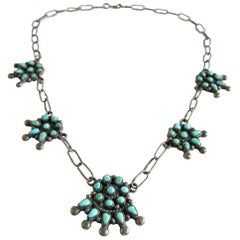 Native American Sterling Silver and Turquoise Petit Point Necklace