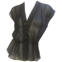 Christain Dior Sheer Black Silk Blouse c 1970