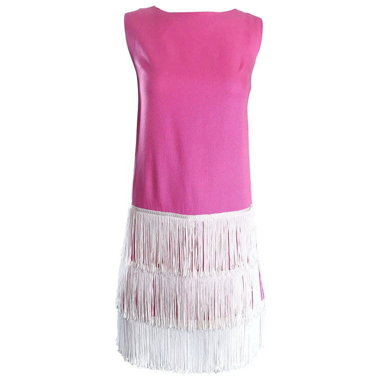 1960s does 1920s Bubblegum Pink + White Fringe Vintage 60s Flapper Shift Dress For Sale