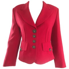 Vintage Sonia Rykiel 1990s Lipstick Red 1940s Style Cropped 90s Blazer Jacket
