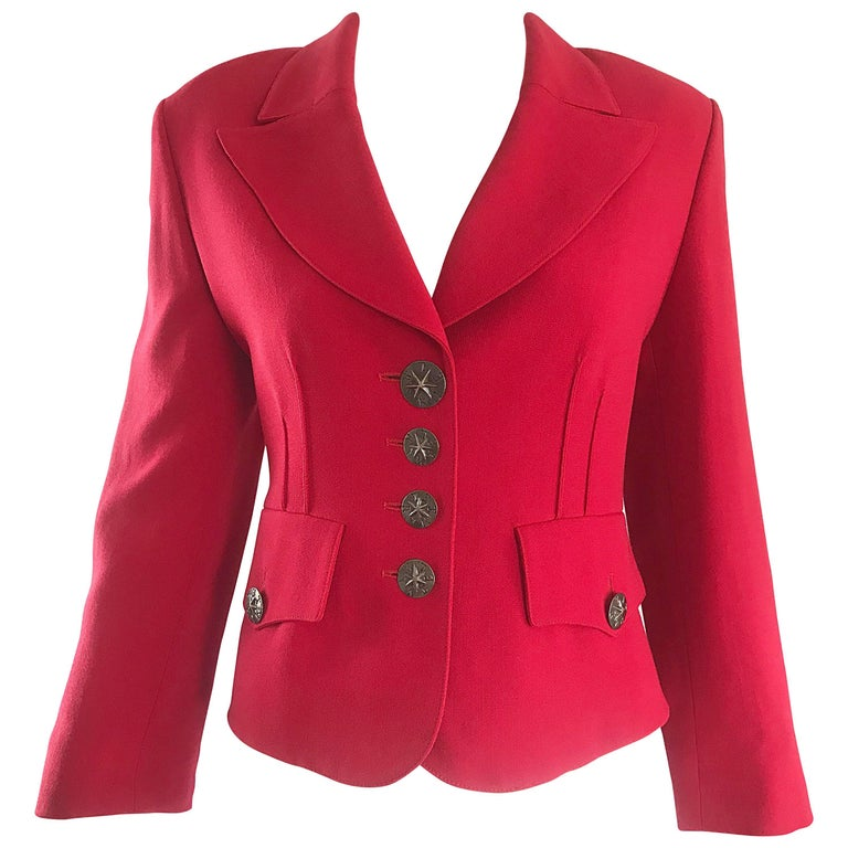 1b2025e943 Vintage Sonia Rykiel 1990s Lipstick Red 1940s Style Cropped 90s Blazer  Jacket For Sale