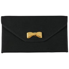 Ferragamo Black Grosgrain Pouch with Signature Bow Hardware