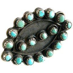 Native American Sterling Silver and Turquoise Petit Point Ring