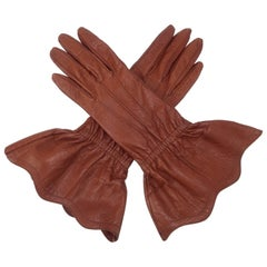 1980's Yves Saint Laurent Cognac Brown Leather Gauntlet Gloves