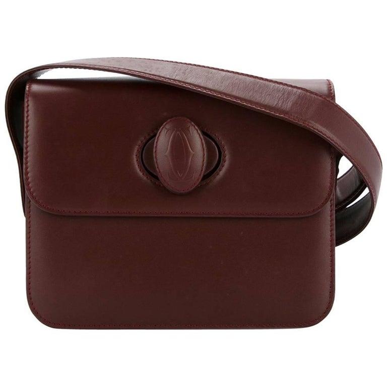 Cartier Bordeaux Leather Twist Lock Shoulder Flap Bag