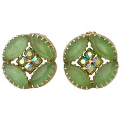 60'S Frosted Art Glass & Swarovski Crystal Gold Tone Earrings