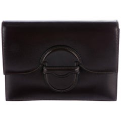 Hermes Leather Small Envelope Evening Clutch Flap Hand Bag