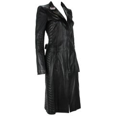F/W 2004 Tom Ford for Gucci Chevron Quilting Black Soft Leather Coat It 40  US 4