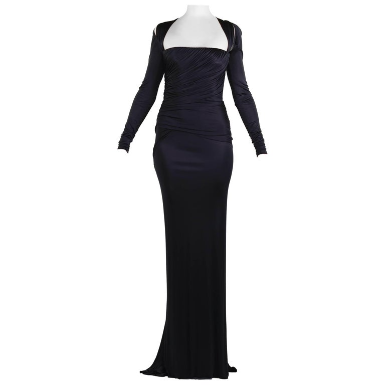 New Versace Black Long-Sleeve Stretch-Jersey Gown