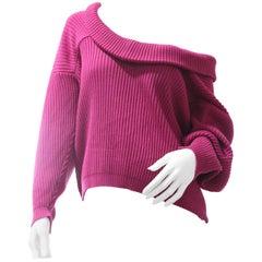 1980s Gianfranco Ferre Fuchsia Wool Rib-Knit Slouch-Style Sweater