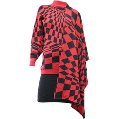 1980s Gianni Versace 3-Piece Knit Skirt Sweater & Scarf in Mod Red Checkerboard