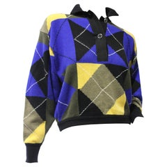 1980s Gianni Versace Cropped Wool Argyle Polo Sweater