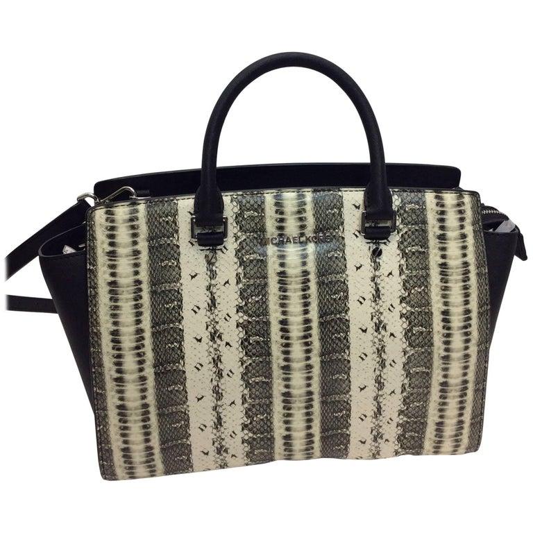 Michael Kors Snake Print Leather Bag For