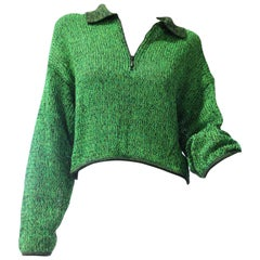 1980s Jean Paul Gaultier Cropped Zip-Front Sweater in Neon Green and Black