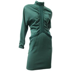 1980s Gianni Versace Wool Knit Dress in Jade Green w Gathers and Hip Pockets