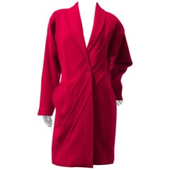 1980s Gianni Versace Primary Red Wool Coat w Angular Trapunto Stitching Details