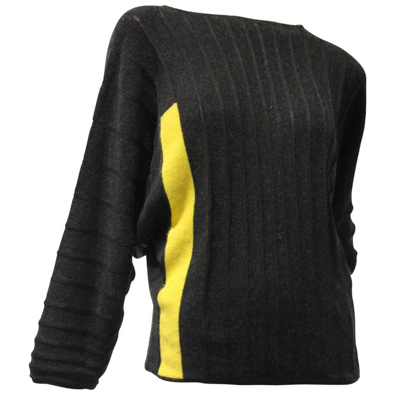 1980s Gianni Versace Color-Blocked Wool Rib-Knit Dolman-Sleeve Sweater