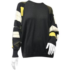 1980s Gianni Versace Deconstructed-Argyle Patterned Wool Sweater w Back Zip