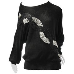 1980s Italian Rayon Knit Cocktail Sweater with Chain-Link Sequin Detail