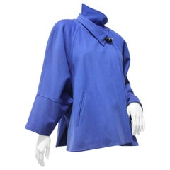 1980s Chloe Electric Blue Wool Felt Swing Coat w Asymetrical Collar