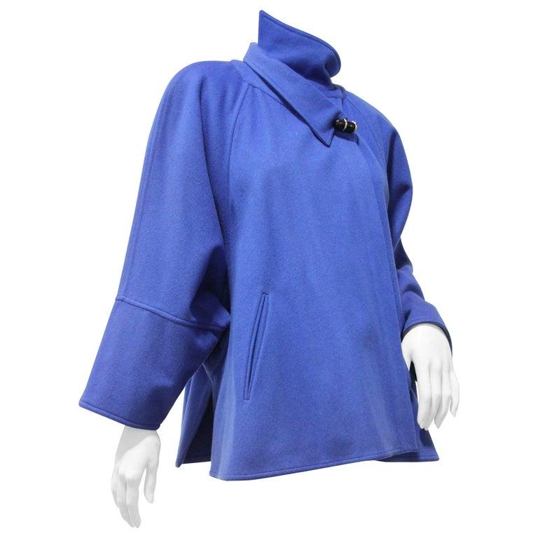 1980s Chloe Electric Blue Wool Felt Swing Coat w Asymetrical Collar