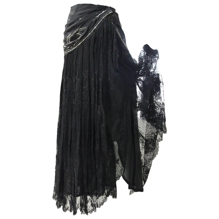 1980s Emanuel Ungaro Couture Beaded and Sequined French Lace Wrap Maxi Skirt