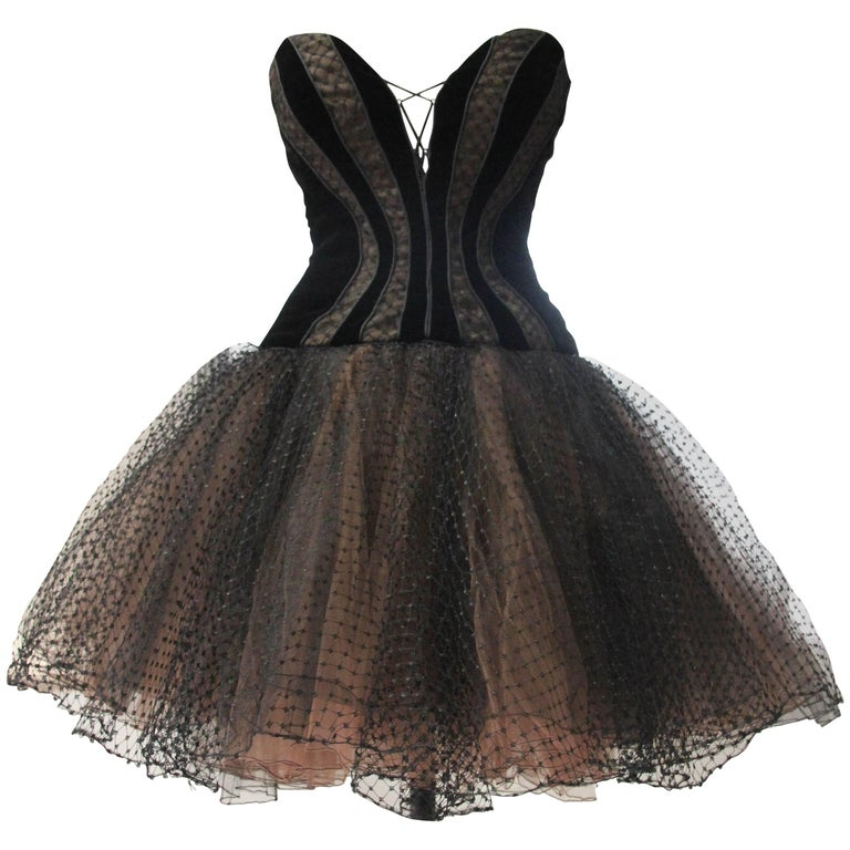 1980s Bob Mackie Corset Bodice Velvet & Tulle Ballerina-Inspired Cocktail Dress 1