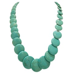 Turquoise Disc Bead Vintage Necklace