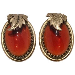 Vintage Art Nouveau Style Gold & Amber Art Glass Earrings By, Whiting & Davis