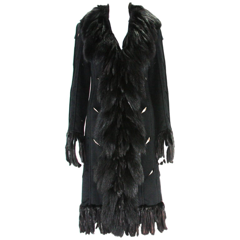 Very Unique Versace Fox Embellished Cut Out Details Black Angora Coat It. 38