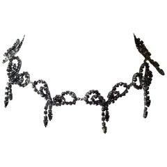 60s Rhinestone Handmade Bow Necklace