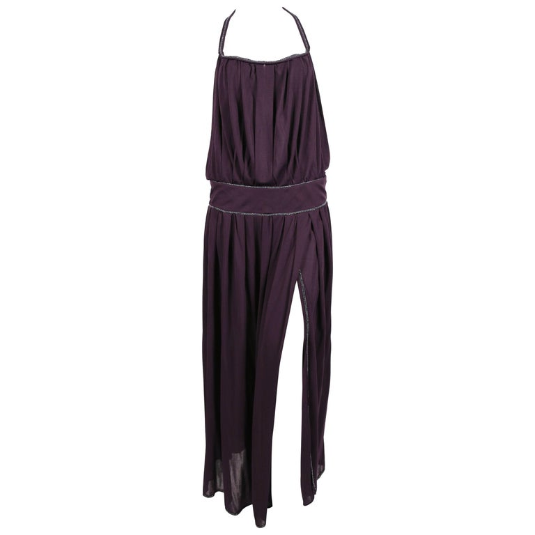 1970's BILL GIBB purple jersey gown with metallic trim