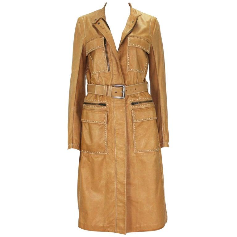 New Tom Ford for Yves Saint Laurent Rive Gauche Leather Safari Camel Coat 36