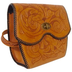 1970s Mexican Tooled Leather Handbag