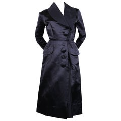 1940's JACQUES FATH navy blue satin coat dress