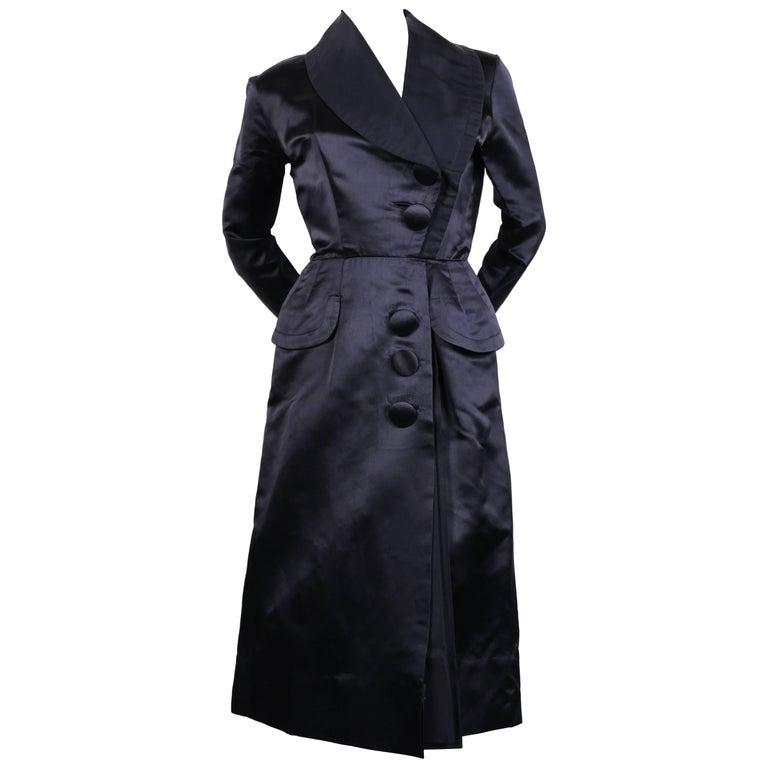 1940's JACQUES FATH navy blue satin coat dress For Sale