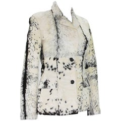 New Tom Ford for Gucci F/W 1999 Fur Cream Black Jacket Blazer Italian size 40