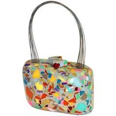 Pop Art Lucite acrylic purse signed by maker Brazillian maker Sobral
