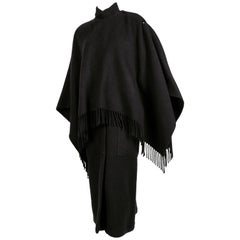 1980's JEAN-CHARLES DE CASTELBAJAC black cape coat with fringe