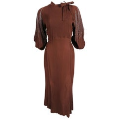 1930's MAINBOCHER PARIS crepe dress with beaded sleeves