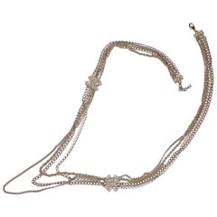 Stunning Chanel Long Multi Chains Necklace Pearls and Cc Logo