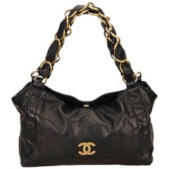 Chanel Black Leather Fold Top Gold Chain Strap Tote Bag